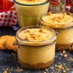 These Pumpkin Cheesecake Jars are no bake, dairy free and ready in minutes! With a gingernut base and spiced pumpkin topping, these are the perfect Autumn dessert!