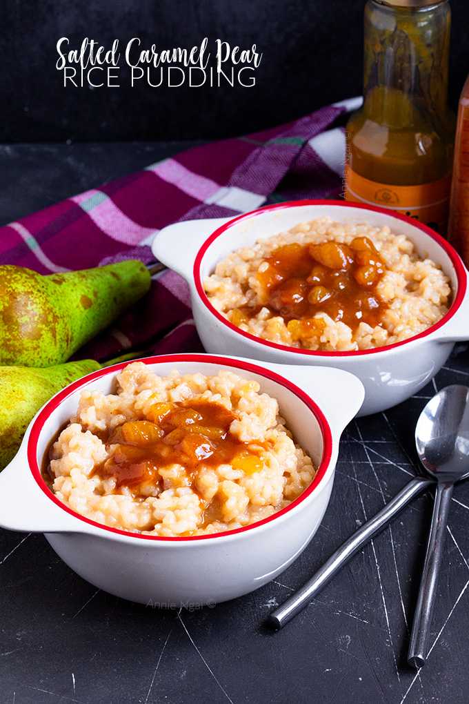 This Salted Caramel Pear Rice Pudding is the perfect marriage between salty sweet pears and creamy, dairy free rice pudding. Plus it's SO easy to make!