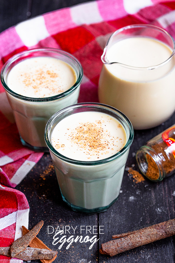 This Dairy Free Eggnog is just as rich and creamy as traditional homemade eggnog, but is made with oat milk, plant based cream and no alcohol. You don't have to miss out on this festive drink just because you can't have dairy!
