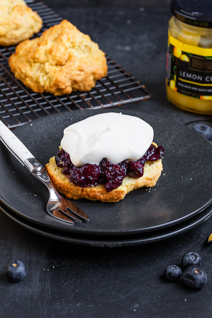 These Lemon Blueberry Shortcakes are the perfect Spring treat. Crumbly shortcake, fresh blueberry filling with sweetened lemon whipped cream.