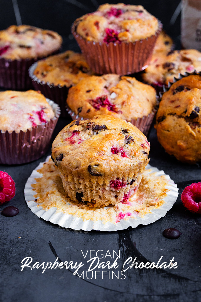 These light and fluffy Raspberry Dark Chocolate muffins are delicious and vegan! Jam packed with dark chocolate and fresh raspberries, they're easy to make and great on the go!