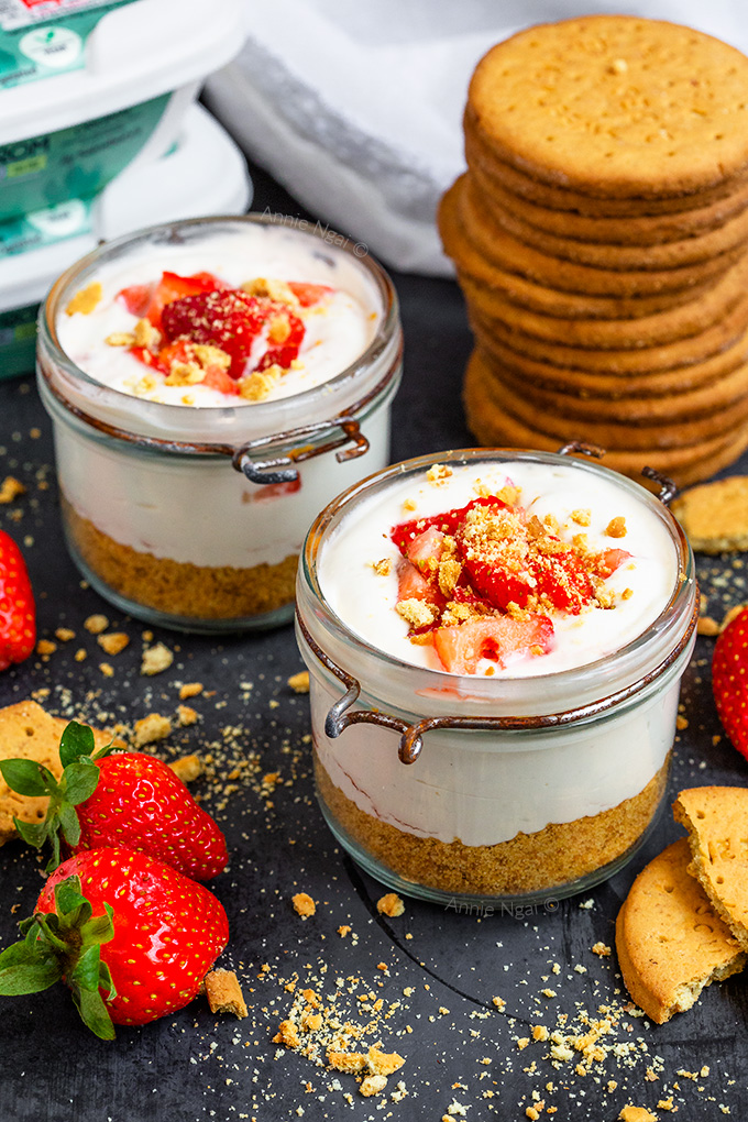 These Strawberry Cheesecake Jars are ready to eat in 10 minutes and are bound to satisfy your sweet tooth! They're dairy free, full of flavour and can be made ahead of time!