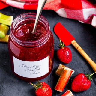 This Strawberry Rhubarb Jam is simple to make and tastes sublime. Using seasonal rhubarb with strawberries makes this jam sweet, but slightly tart. Use it on toast, on scones or with your porridge!